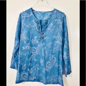 J. McLaughlin Tunic Blue & White Blouse Sz Medium